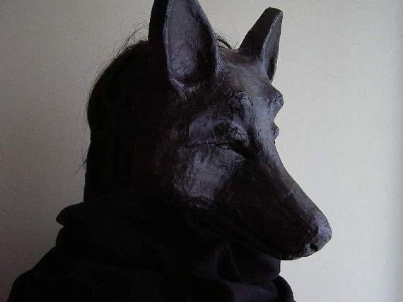Halloween mask Black dog mask Wolf mask Wolf head by EpicFantasy