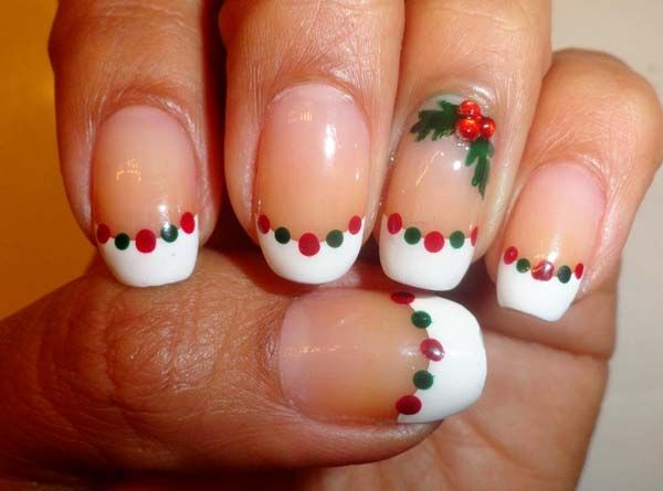 Red and Green dots. holly and berries. white french tips - Christmas Nail Art Design Ideas 2013-2014