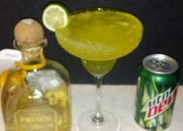 In honor of National Margarita Day, I figured I would put a more redneck twist on the classic drink. I love slushed Mt. Dew so it wasn't too much of a stretch to figure out how it would taste with my favorite Patron tequila mixed into it.