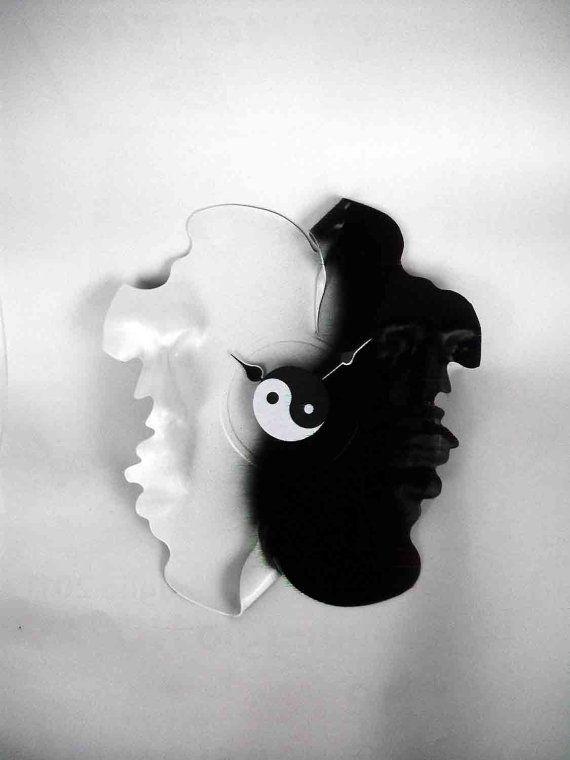 vinyl wall clock  The Tao  yin and yang  old records by RakuLabFly