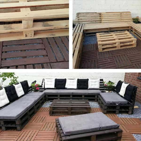 recycled pallet outdoor sectional sofa