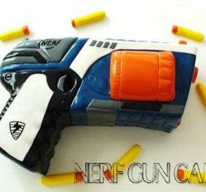 This looks like the real deal! Create this awesome Nerf Gun cake for any young boy or girl and watch the amazement as they discover it's not another Nerf Gun but actually a cake! Simple and easy birthday cake for beginners to intermediate. Material and Equipment Used to make The Nerf Gun cakeA Nerf Gun toy to use as a template14