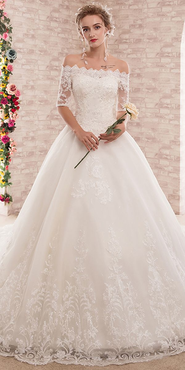 Attractive Tulle Off-the-shoulder Neckline Ball Gown Wedding Dress With  Beaded Lace Appliques 62bec75fe03f