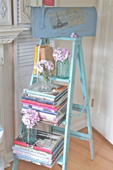 old ladder for books, magazines and flowers