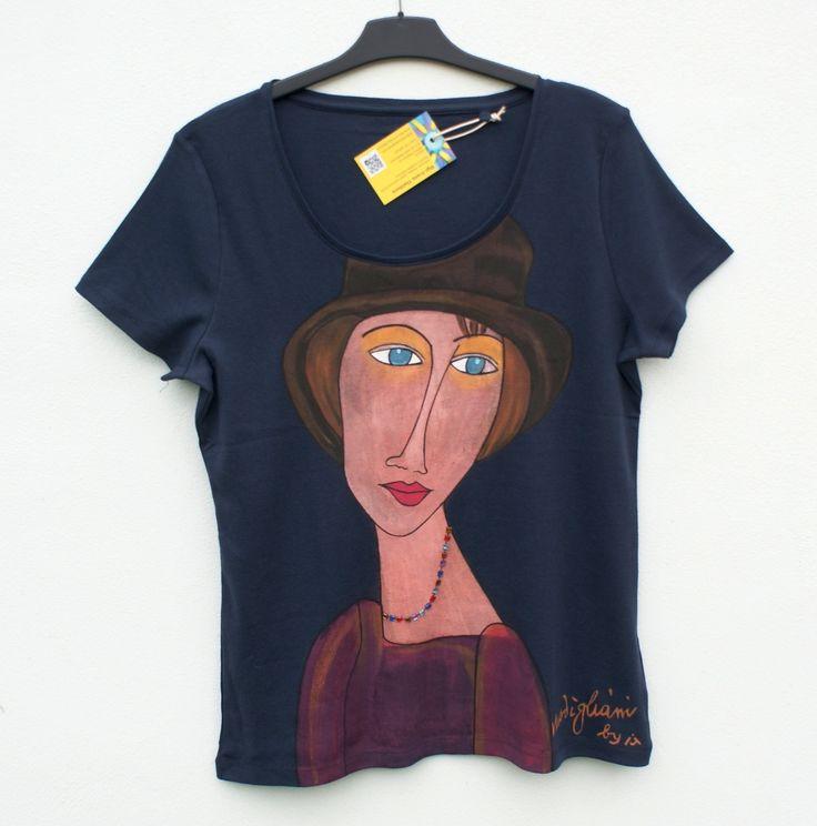 Dámské tričko Amedeo Modigliani ruční malba + našívané korálky
