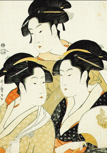 Utamaro (woodprint) beautiful Japanese design