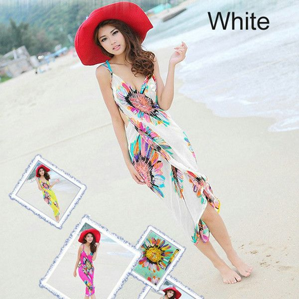 DAMEN Bohemian Women Maxi Dress Sunflower Print Women Beach Dress Breathable Chiffon Vintage Dress Vestidos Largos