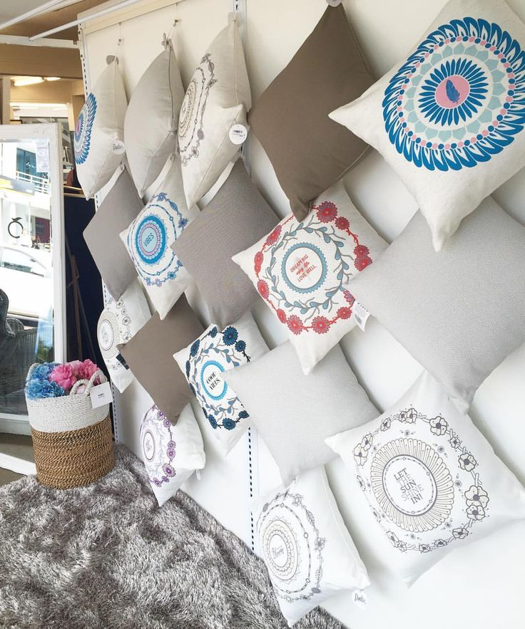 Window display at The Design Store Takapuna. 6 Auckland stores now stocking Pudge Design cushions.  #boutiquehomewares #hangingdisplay #pudgedesign #thedesignstore