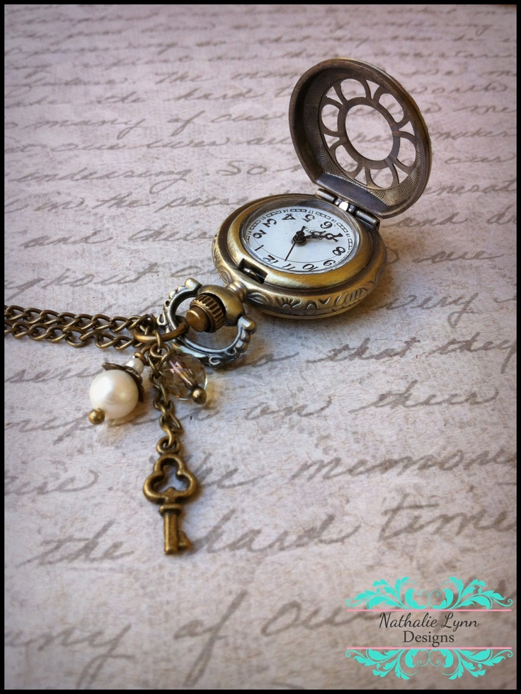 Pocket Watch Necklace Antique Brass by nathalielynndesigns on Etsy, $22.99