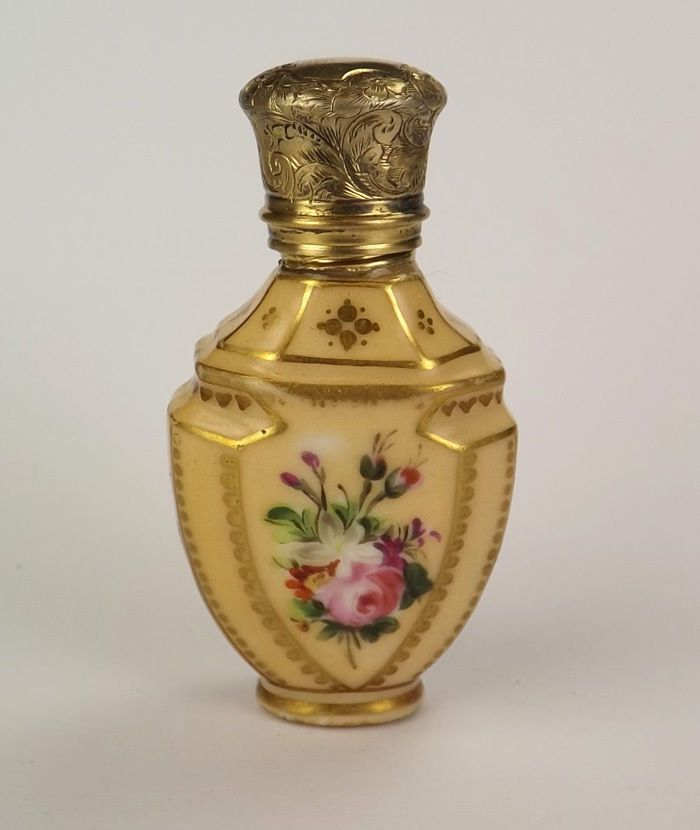 Antique Hand Painted Flower Decorated Peach Glazed Scent Bottle