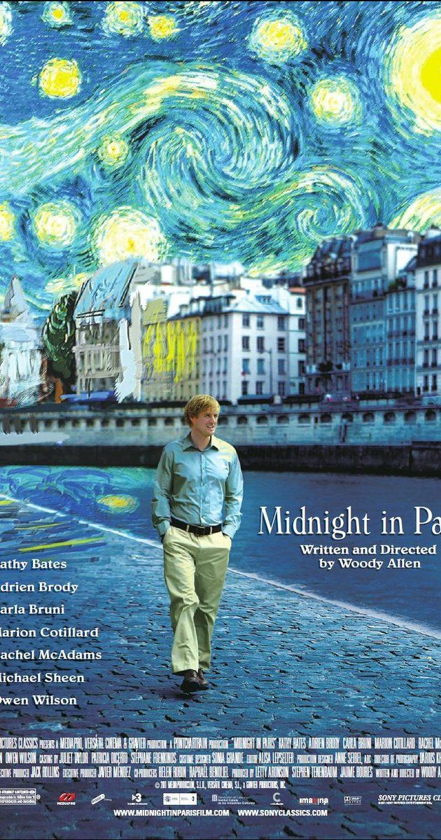 Directed by Woody Allen.  With Owen Wilson, Rachel McAdams, Kathy Bates, Kurt Fuller. While on a trip to Paris with his fiancée's family, a nostalgic screenwriter finds himself mysteriously going back to the 1920s every day at midnight.