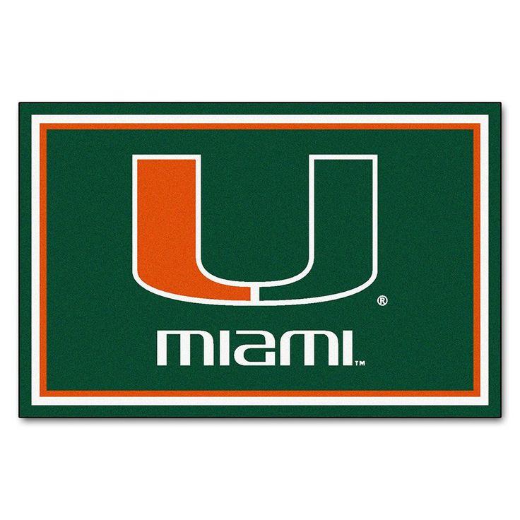 Miami Hurricanes NCAA Floor Rug (60x96) U Logo