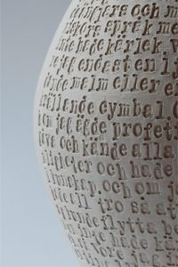 sara nermansdotter - hand-thrown stoneware vessel with text