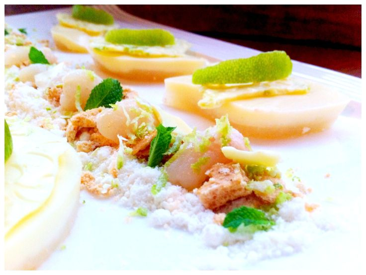 Lychee Pana Cotta w/ White Chocolate Powder & Candied Lime Peel