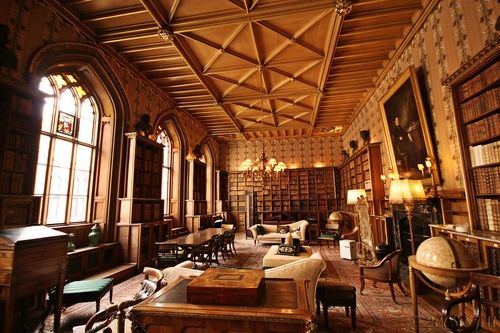 Library at Belvoir Castle, Leicestershire, England