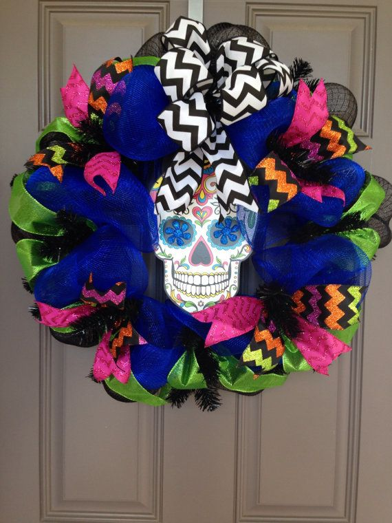 Hey, I found this really awesome Etsy listing at https://www.etsy.com/listing/205202171/dia-de-los-muertos-deco-mesh-wreath