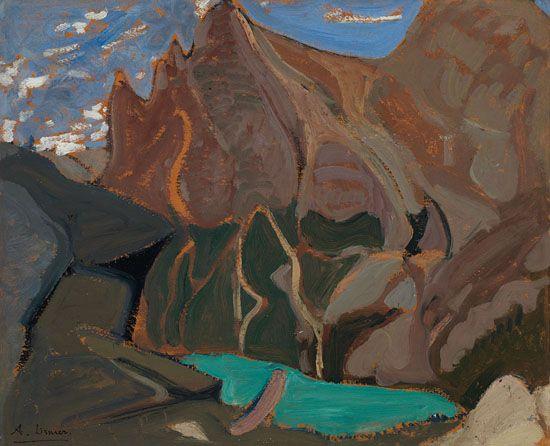 Arthur Lismer - Emerald Lake 12.75 x 15.75 Oil on board (1928)
