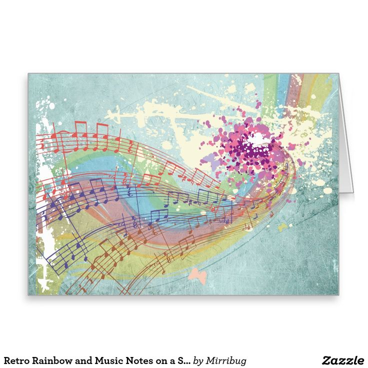 Retro Rainbow and Music Notes on a Shabby Texture Greeting Card