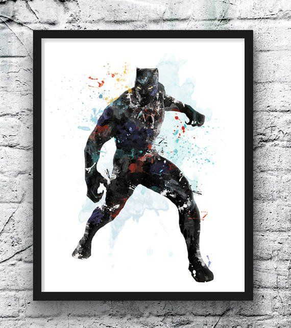 Panthere Noire Aquarelle Impression Dart Avengers Super Etsy Avengers Art Black Panther Kid Room Decor