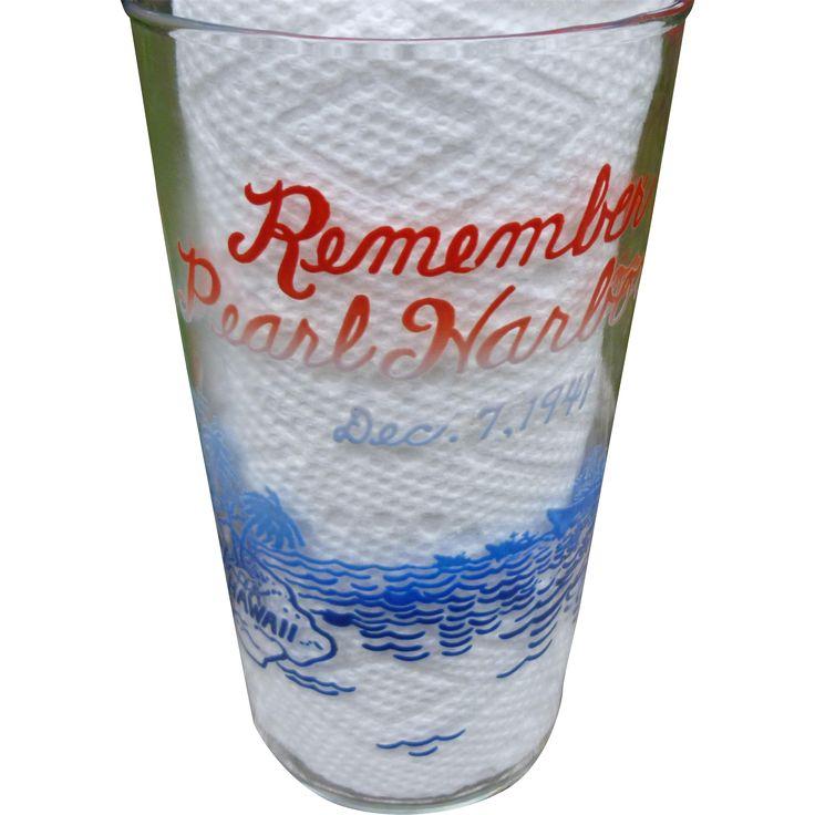 Remember Pearl Harbor Glass  #VintageBeginsHere at www.rubylane.com @Ruby Lane Vintage