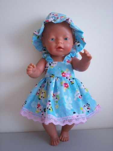 BABY BORN DOLLS CLOTHES BLUE PANDA BEARS SUMMER OUTFIT
