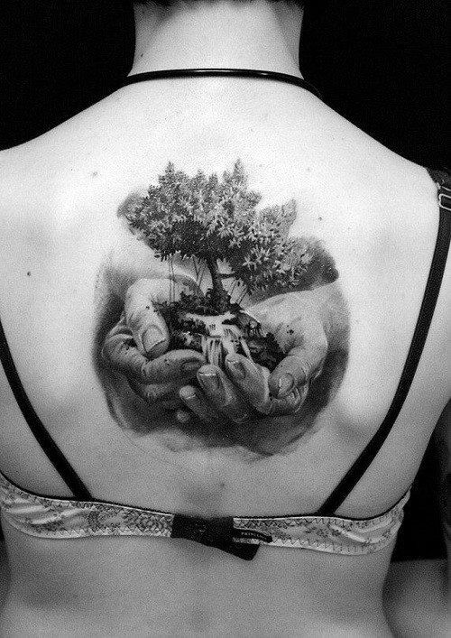 Girl Back 3D Tree In Hands Tattoo