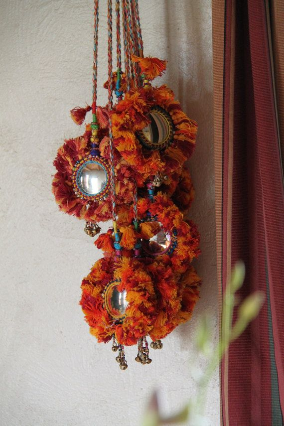 Camel Swag / Red, Yellow, Orange Mirrored Camel Pom Pom, Bells, Tassel, Decoration / Boho, Gypsy Fashion Design, Decorating Supplies / Long, $28.00