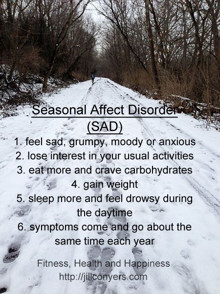Seasonal Affective Disorder is believed to be a result of impaired melatonin metabolism because of decreased exposure to sunlight.  It is a type of depression that occurs at the same time every year. If you're like most people with seasonal affective disorder, your symptoms start in the fall and may continue into the winter months, sapping your energy and making you feel moody. Less often, seasonal affective disorder causes depression in the spring or early summer. Symptomatology: - cravings…