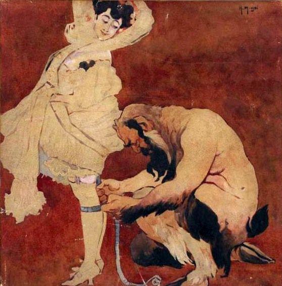 """Woman and Satyr"" (1906) by Jacek Malczewski  (Polish, 1854 -1929), watercolour, gouache, pencil on cardboard, 36.5 x 36.5 cm, private collection"