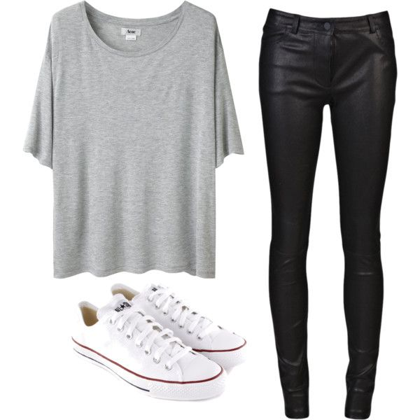 Casual, comfy outfit - Gray tee, faux leather pants, white converses