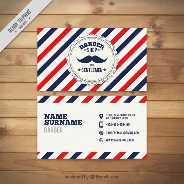 bigode Vintage cartão de barbeiro Vetor Premium