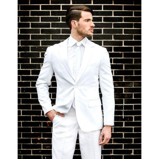 Luxe heren kostuum wit. Luxe getailleerd colbert en pantalon in witte kleur. Het pak is gemaakt van hoogwaardig polyester en wordt geleverd met een bijpassende stropdas.