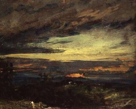 "John Constable, ""Sunset study of Hampstead, looking towards Harrow"""