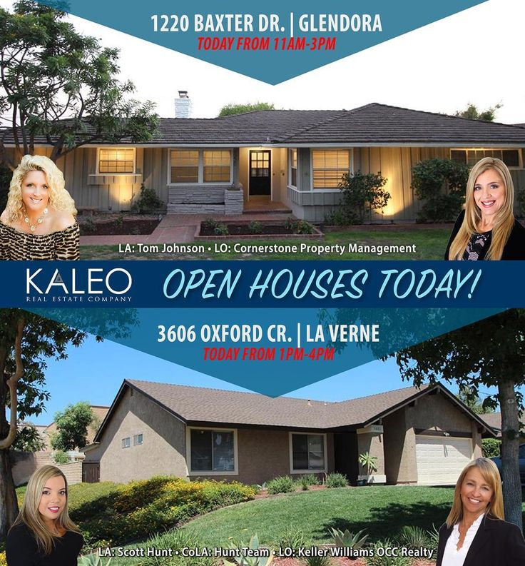 OPEN HOUSES TODAY! 1220 Baxter Dr. | Glendora Today from 11-3pm Agents: Erin Osborne & Jennifer Beltran _______  3606 Oxford Cr. | La Verne Today from 1-4pm Agents: Renee Franco & Kelly Harris  #kaleorealestate #glendora #laverne #openhouse #home #forsale #buy #sell #realestate #kaleoagent