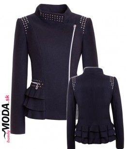 Krátky čierny zimný kabát s množstvom originálnych detailov.- trendymoda.sk