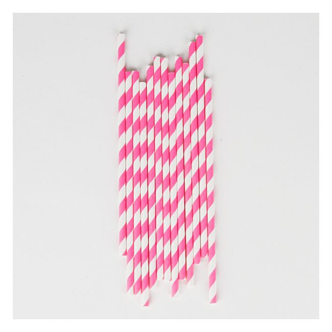 25 pailles à rayures roses