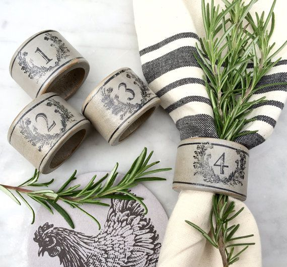 French Country Farmhouse Napkin Rings Grey with by ShopOnALark