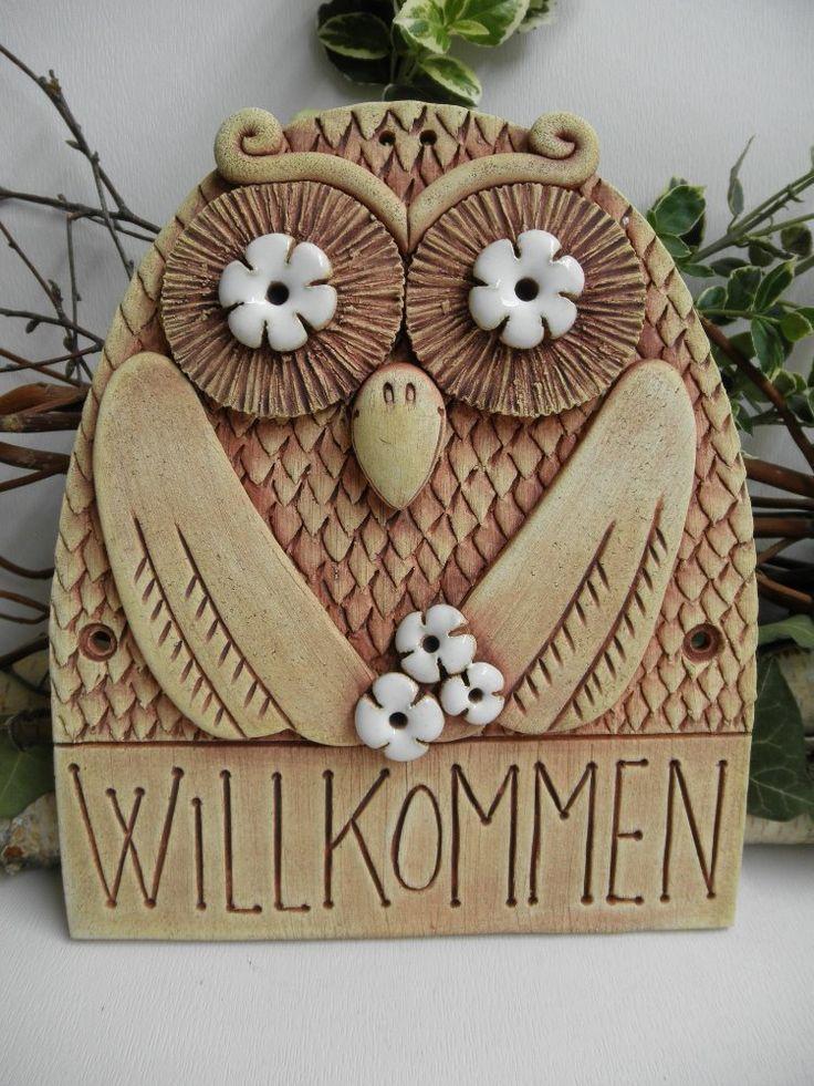 Türschild keramik Kachel Bild Willkommen Eule Hausdekoration/Gartendekoration/Wand dekoration