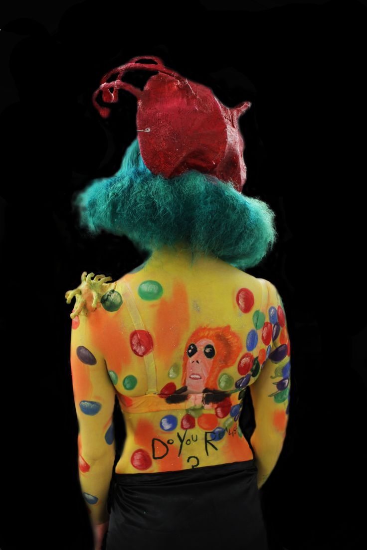 Retro Flaming Lips Body Paint Hair, Make-up and Costume created by Rosie's Wonderland