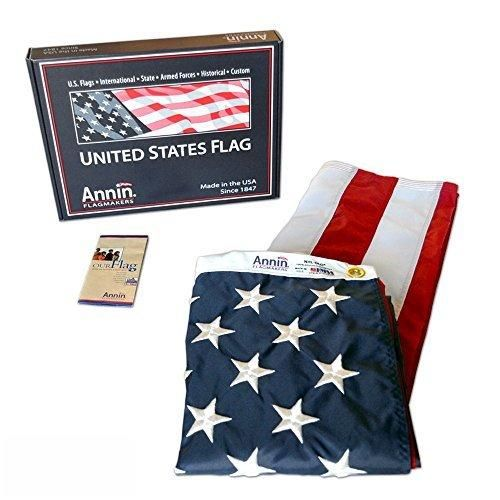 American Flag 4x6 ft. Nylon SolarGuard Nyl-Glo by Annin Flagmakers 100% Made in USA with Sewn Stripes Embroidered Stars and Brass Grommets. Model 2220
