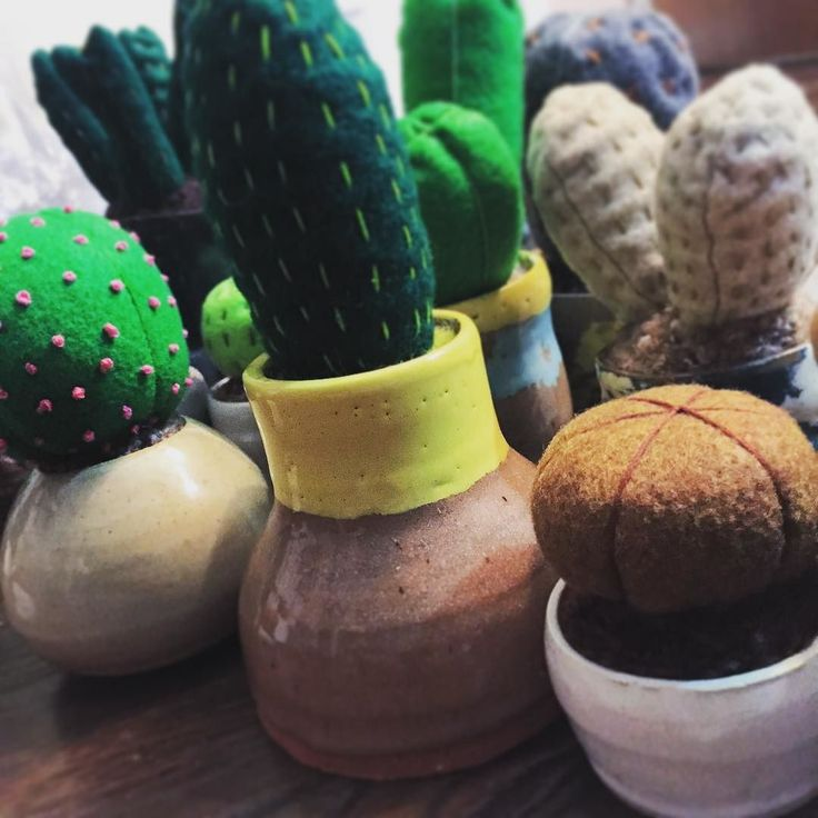 More pincushion progress!!! #hunterandthistledecor #feltedcactus #feltedcactuspincushions #ceramics #pottery #embroidery -K