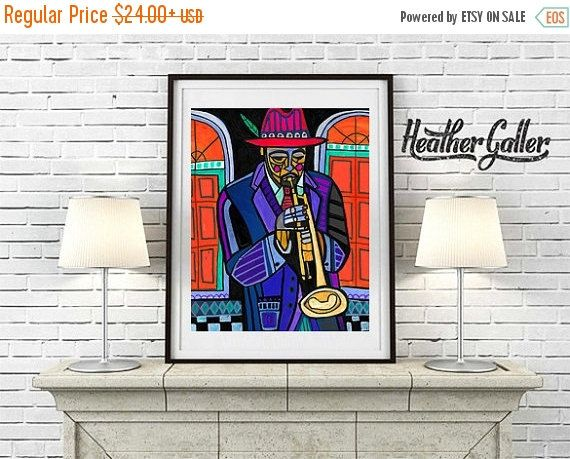 50% Off Today- Trumpet Player French Quarter Jackson Square Park New Orleans Jazz Musicians Art Print Poster by Heather Galler (HG72155)