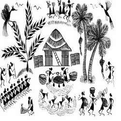 Classic Warli Paintings. The Warli paintings essentially depict the basic principals of life, which are the main theme or basis of any tribe. Their major designs include the harvest season, celebration, wedding, rituals and births.