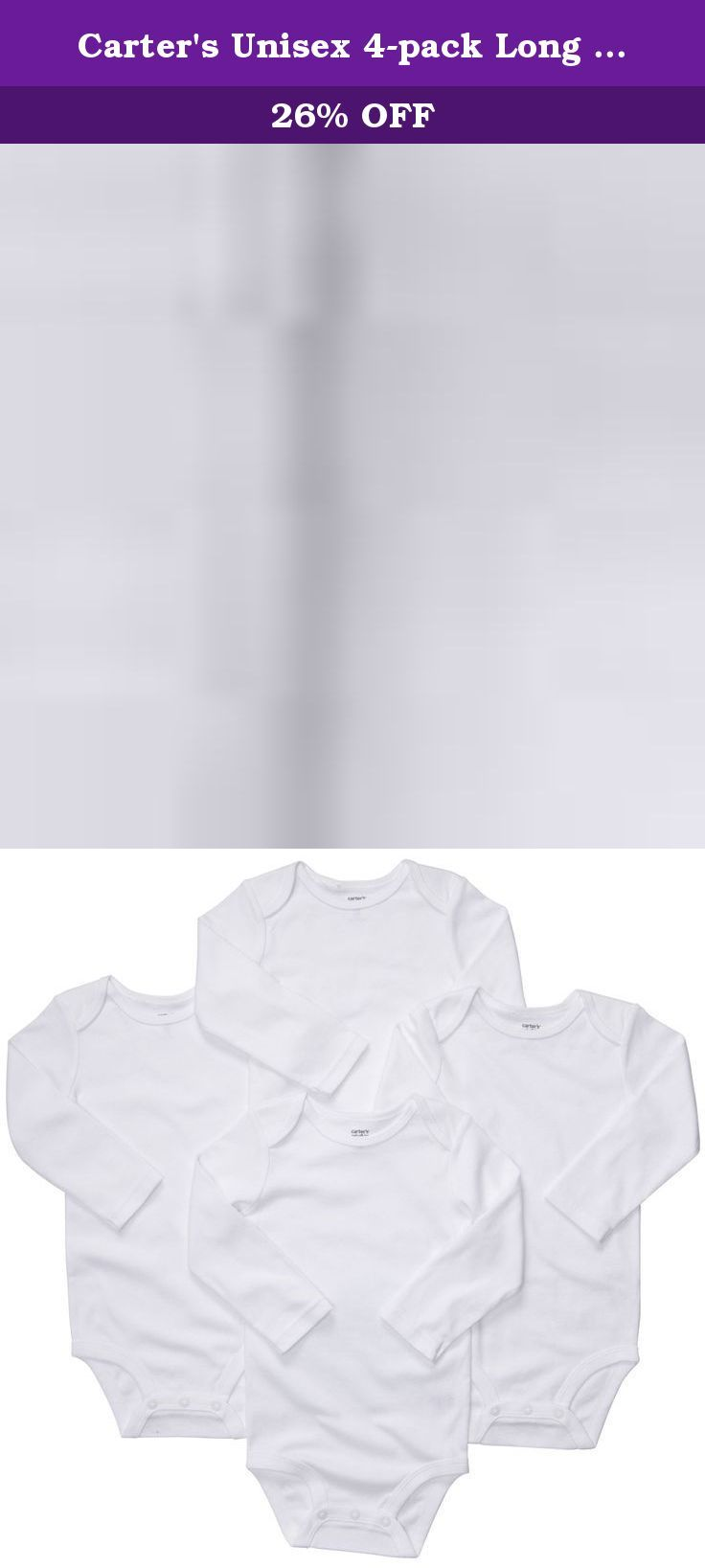 Carter's Unisex 4-pack Long Sleeve Bodysuit Set (3 Months). Classic, cotton long-sleeve bodysuits keep baby comfy and cozy. Pair with our bottoms for multiple outfits. Expandable shoulders for easy over-the-head dressing Nickel-free snaps on reinforced panel last through all of those diaper changes Silky soft cotton keeps baby comfy. No-scratch tag-free label. Newborn sizes have mitts at the cuffs.