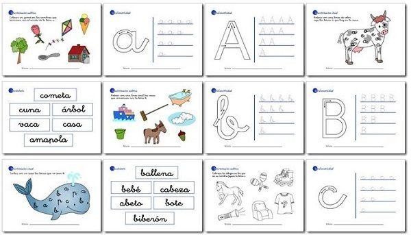 Actividades de lectoescritura para niños de 5 años y primer grado a, b, c, d, e.