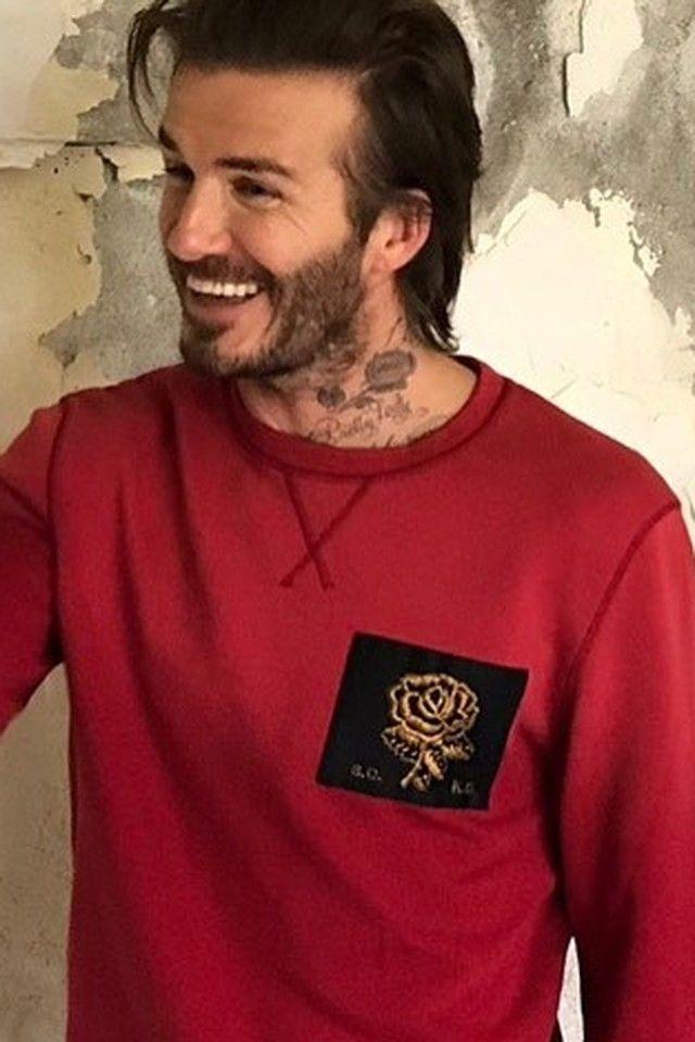 David Beckham wearing  Kent And Curwen Patch Sweatshirt
