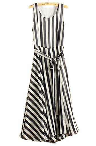 Striped Sleeveless Belt Chiffon Dress