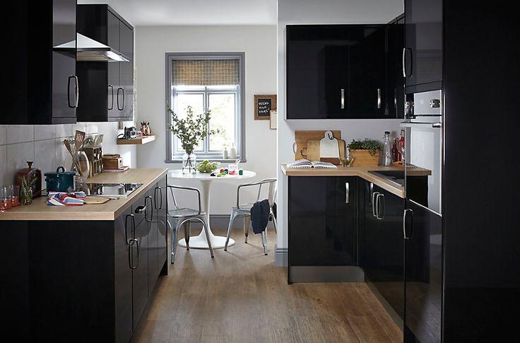 it santini gloss black slab diy at b q wish list. Black Bedroom Furniture Sets. Home Design Ideas