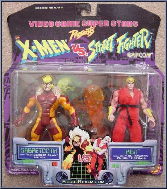 Sabretooth vs. Ken from X-Men - vs Street Fighter - Series 1 manufactured by Toy Biz [Front]