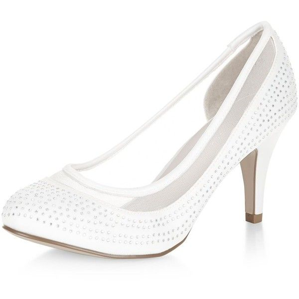 White Diamante Mesh Panel Mid Heels ($7.86) ❤ liked on Polyvore featuring shoes, pumps, mid-heel pumps, white high heel pumps, mid heel pumps, high heeled footwear and white pointed-toe pumps